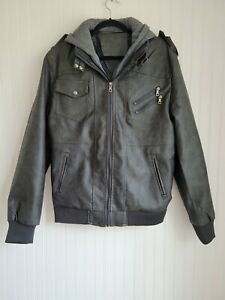 Mens Size Medium Faux Leather Motorcycle Jacket Gray Removable Hood Insert $25.00