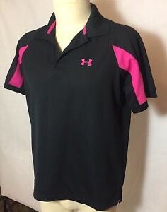 Under Armour Golf Polo Shirt Short Sleeve Large L Black Pink Breast Cancer $23.85