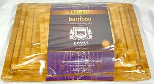 Bamboo Cutting Board Set for KitchenChopping Boards w Juice Grooves and Handles