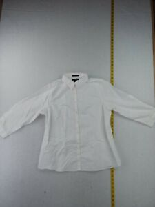 Lands#x27; End Solid Non Iron Long Sleeve Button Up Shirt Women 14 White