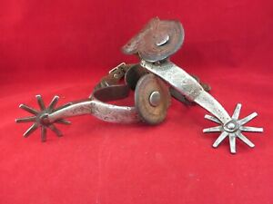 PAIR OF VINTAGE PRISON MADE SILVER DOUBLE MOUNTED SPURS WITH STRAPS
