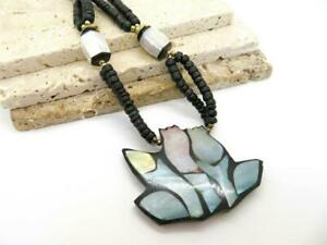 Vintage Philippines Abalone Shell Flower Mosaic Pendant MOP Bead Necklace HH27 $11.00