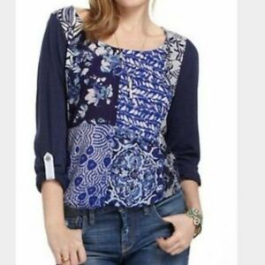 One September Anthropologie Milieu Patchwork Top Blue Roll Tab Sleeves Womens Sm $32.99