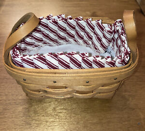 """Rosemary Booking Small Basket 1991 Longaberger With Cloth Liner 6"""" X 4"""" X 3.5 $16.00"""