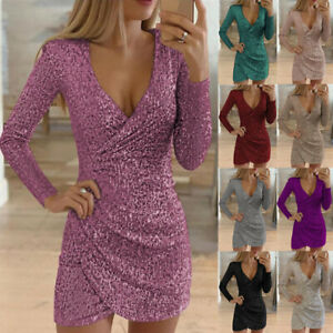 Womens Glitter Sequin Evening Party Bodycon Club Cocktail Wrap V Neck Mini Dress $21.89