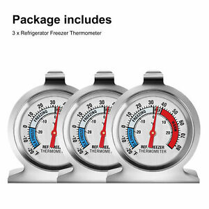 3x Refrigerator Freezer Thermometer Fridge DIAL Type Stainless Steel Hang Stand