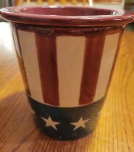 Americana Dip And Ice Holder Container; Country red tan blue with stars.