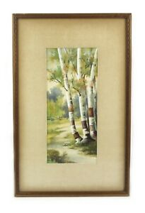 Antique Landscape Watercolor Painting of Forest Birch Trees Scene Signed $175.00