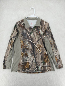 Game Winner Womens Hunting 1 4 Zip Pullover Brown Camouflage Mock Neck L