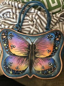 VINTAGE BIACCI COLORFUL HANDBAG Purse GENUINE LEATHER Hand Painted Butterfly $45.00