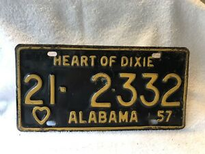 Vintage 1957 Alabama License Plate Heart Of Dixie