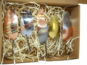 Copper Fishing spoon handmade set made in europe pike lure spinner bait