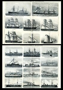 Merchant ships and warships... 2 Antique lithographs....1900 $9.00
