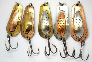5 pieces copper fishing spoon set box of brass lures handmade tackle