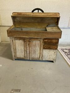 outstanding early 1800s pa primitive yellow painted dry sink hooded mustard $1200.00