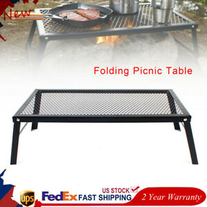 Portable Tables Camping Barbecue Iron Table Black Picnic Net Table Foldable $46.02