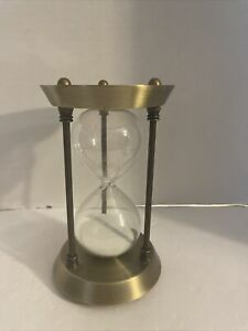 Sand Timer Hourglass Vintage Metal Sand Clock Brass White Sand...Pre owned $19.95