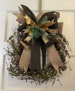 """New Natural Look Grapevine Wreath Neutral Colored Bow. Hand Designed. 15"""" $18.00"""