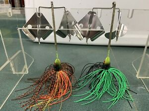 Double Buzz bait 1 2 ounce lot of 2. Brown Craw Black Lime Topwater Bass Pike