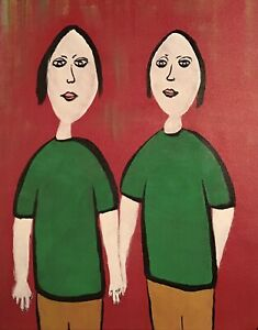 """POP ART OUTSIDER PAINTING """"TWO GIRLS"""" ON LOOSE CANVAS..16"""" X 20"""" BY: JORDOK"""