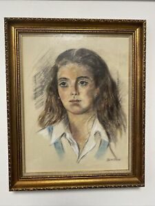 Vintage Pastel Painting Portrait of a Beautiful Young Woman Signed Silton $149.99