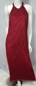 ADRIANNA PAPELL BEADED DARK CHERRY ANKLE GOWN SIZE 16 NWT $60.00