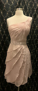 Adrianna Papell Pink Chiffon Draped One Shoulder Dress Size 16 New With Tags $9.99
