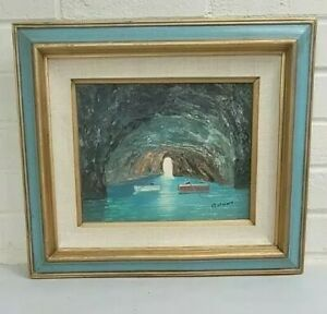 Original Painting on Canvas Framed Beach Water Landscape Signed Bruno $64.99
