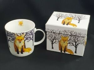 Two Can Art Porcelain PPD Mug Winter Fox 13.5 Oz Gift Box Fox Cup Large $10.00