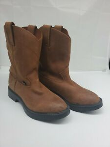 Justin quot;Workquot; Boots Boys Size 13.5 D Brown Leather GUC