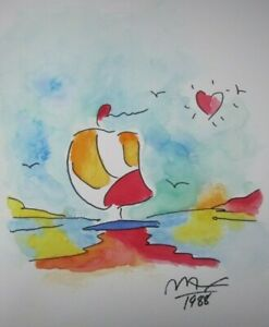 Peter Max HAND SIGNED amp; PAINTED Original Watercolor Painting Boat at sunset $698.00