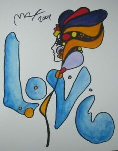 Peter Max HAND SIGNED amp; PAINTED Original Watercolor Painting Love one of a kind $698.00