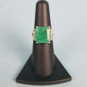 6.70ct Emerald Sterling Silver Ring w White Sapphires Antique Jewelry 4.10dwt $660.00