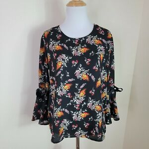 Lily White Women#x27;s Black Floral 3 4 Bell Sleeve Blouse Shirt Ribbon Size Small S $11.99