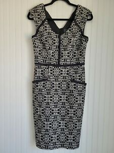 Adrianna Papell Womens Size 6 Dress with Pockets A Line Midi Black White $16.00