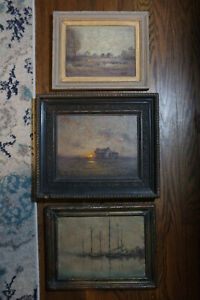Three Small American Impressionism Oil Paintings: 1931 1932 1972 $1500.00