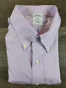 Brooks Brothers Dress Shirt Size 17.5 4 5 Purple Check Long Sleeve Collared $13.95