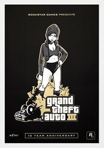 Grand Theft Auto 3 GTA III Misty Poster Lithograph Art # 500 LE 10th Anniversary $90.00