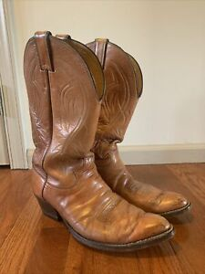 Vintage Justin Cowboy Boots Mens size 9.5 EE Tan Leather