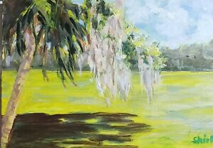 Original impressionist Florida landscape oil Painting by Shirley Campbell $69.00
