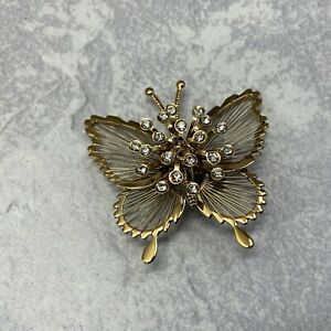 Vintage Signed Monet Gold Tone Wired Filigree Rhinestone Butterfly Brooch Pin $11.00
