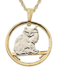 Cat (Turkish) Pendant & Necklace Isle Of Man Cut Coin 34