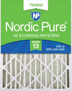 Nordic Pure 20x25x4 (3 58) Pleated MERV 13 Air Filters 2 Pack