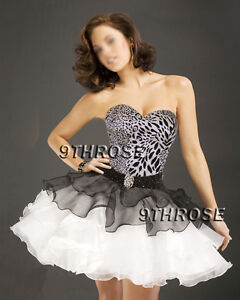 TURN UP THE HEAT!SWEETHEART NECK PARTYDANCECOCKTAIL DRESS Black White AU12US10