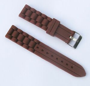 New 18mm Silicone Rubber Watch Band Strap - Light Brown