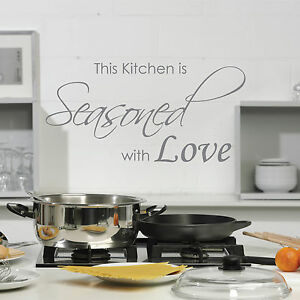 The Kitchen is Seasoned With Love Vinyl Wall QuoteWall Stickers Decals Art
