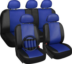 Faux Leather Car Seat Covers Blue Black 17pc wSteering WheelBelt PadHead Rest