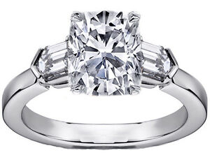 Three Stone Cushion Diamond Engagement Ring with Bullet Diamond Accents