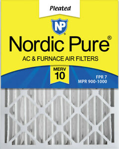 Nordic Pure 16x20x4 (3 58) Pleated MERV 10 Air Filter 1 Pack
