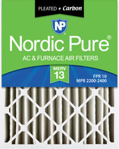 Nordic Pure 20x25x4 (3 58) Pleated Air Filters MERV 13 Plus Carbon 2 Pack